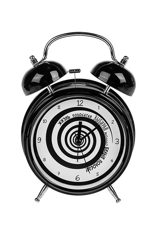 Часы настольные Жизнь полосатаяЧасы Настольные<br>15*21см, металл, с будильником, с подсветкой<br>