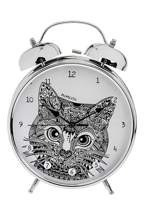Часы настольные Пейсли котЧасы Настольные<br>23.5*29см, металл, с будильником<br>