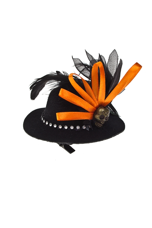 Шляпа маскарадная для взрослых Кокетливая ведьмаМаскарадные костюмы<br>Текстиль, пластм., перо, черно-оранж., на зажимах<br>