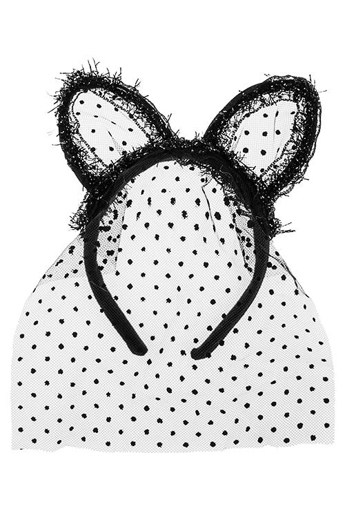 Обруч на голову маскарадный для взрослых Ушки кошкиМаскарадные аксессуары на 14 февраля<br>Пласт., текстиль, сетка, черный<br>