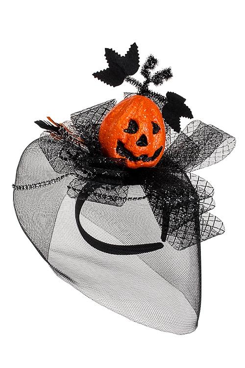 Обруч на голову маскарадный для взрослых Загадочная тыкваМаскарадные аксессуары на 14 февраля<br>Пласт., текстиль, пенопласт, черно-оранж.<br>