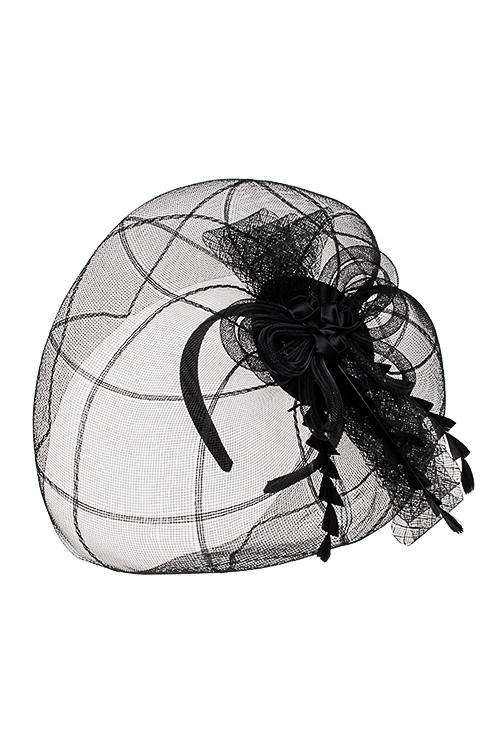 Обруч на голову маскарадный для взрослых Цветы ночиМаскарадные аксессуары на 14 февраля<br>Пласт., текстиль, сетка, черный<br>
