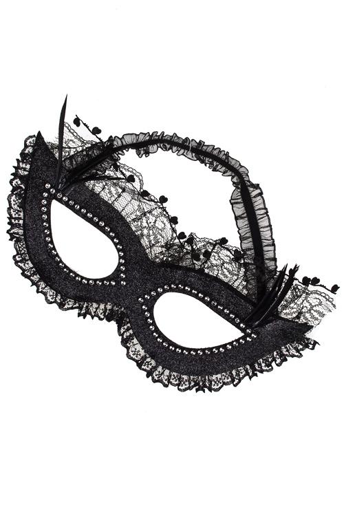 Маска маскарадная для взрослых Чарующий взглядМаски<br>Текстиль, перо, черная<br>