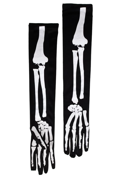 Перчатки маскарадные для взрослых СкелетРазвлечения и вечеринки<br>Текстиль, черно-белые<br>