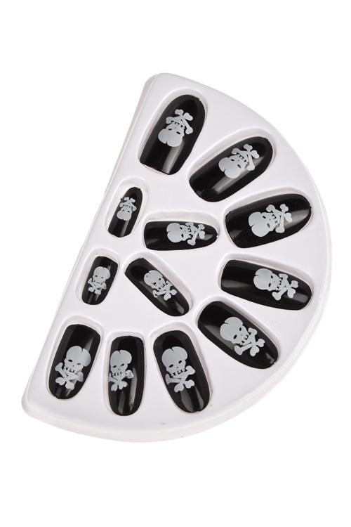 Набор ногтей накладных Череп и костиРазвлечения и вечеринки<br>Пластм. (12 ногтей, 20 клейких креплений)<br>