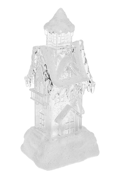 Украшение для интерьера светящееся Дом в снегуПодарки на Новый год 2018<br>12*10*24см, пластм., на батар., с жидк. и метелью<br>