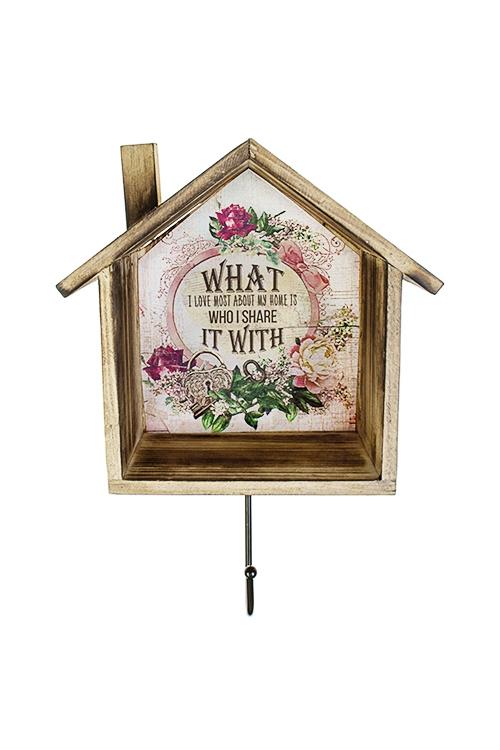 Вешалка декоративная Милый домИнтерьер<br>19*9.5*28.5см, дерево, коричн.-розовая<br>