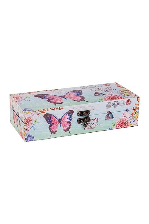 Шкатулка Летний садШкатулки для украшений<br>24*11*6см, МДФ, розово-голубая<br>