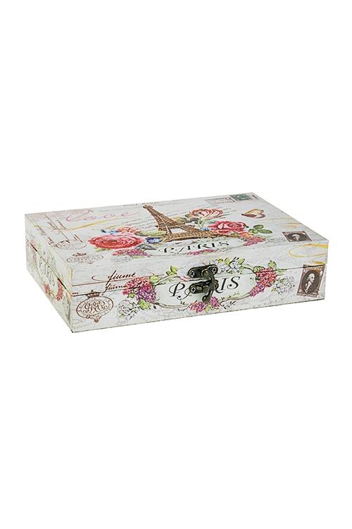 Шкатулка ПарижШкатулки и наборы по уходу<br>24*17*5.5см, МДФ, крем.-розовая<br>