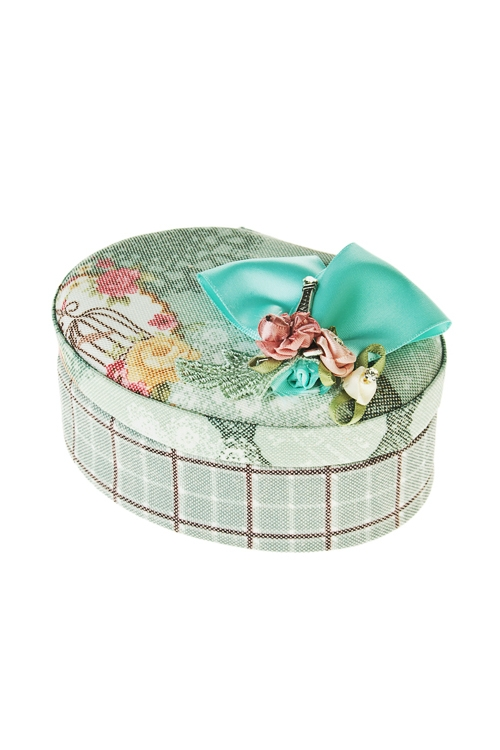 Шкатулка для ювелирных украшений Парижская веснаШкатулки и наборы по уходу<br>9*12*6см, текстиль, зелено-розовая<br>