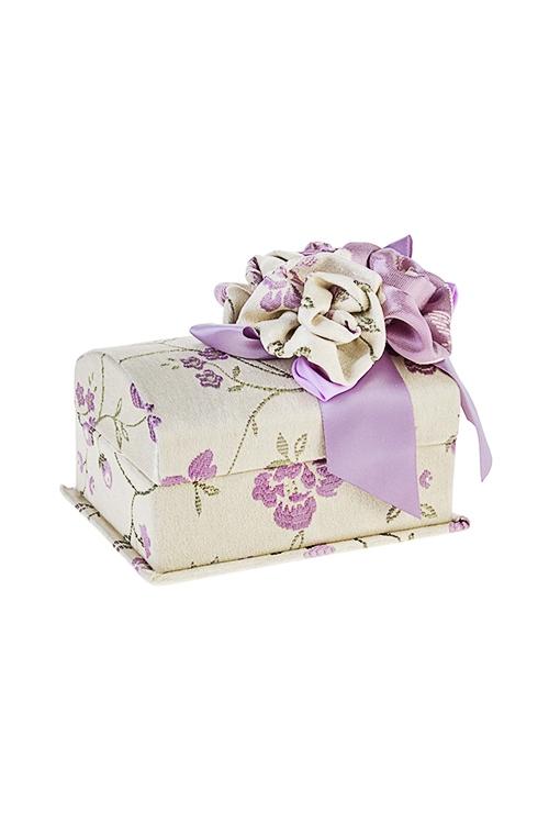 Шкатулка для ювелирных украшений Нежные розыШкатулки для украшений<br>14*10*8см, текстиль, крем.-сирен.<br>