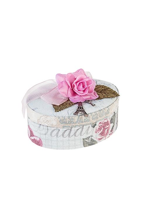 Шкатулка для ювелирных украшений Цветущий ПарижШкатулки и наборы по уходу<br>12*9*6см, текстиль<br>