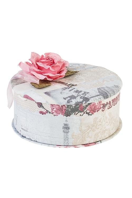 Шкатулка для ювелирных украшений Цветущий ПарижШкатулки для украшений<br>19*18*8см, текстиль, розово-крем.-серая<br>