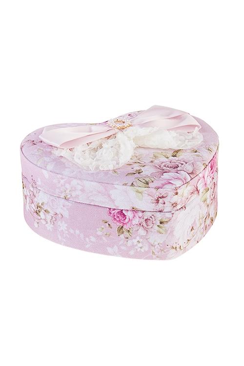 Шкатулка для ювелирных украшений НежностьШкатулки и наборы по уходу<br>18*16*7см, текстиль, розово-крем.<br>