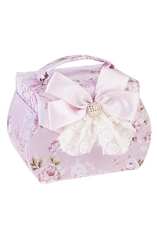 Шкатулка для ювелирных украшений НежностьШкатулки для украшений<br>19*12*15см, текстиль, розово-крем.<br>