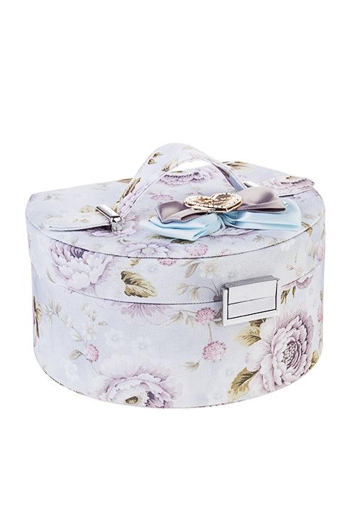 Шкатулка для ювелирных украшений Нежные пионыШкатулки и наборы по уходу<br>18*15*11см, текстиль, коричн.-голубая-розовая<br>