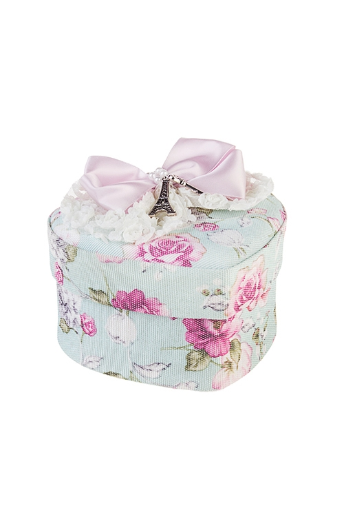 Шкатулка Розы и бантШкатулки для украшений<br>14*14*9см, текстиль, розово-голубая<br>