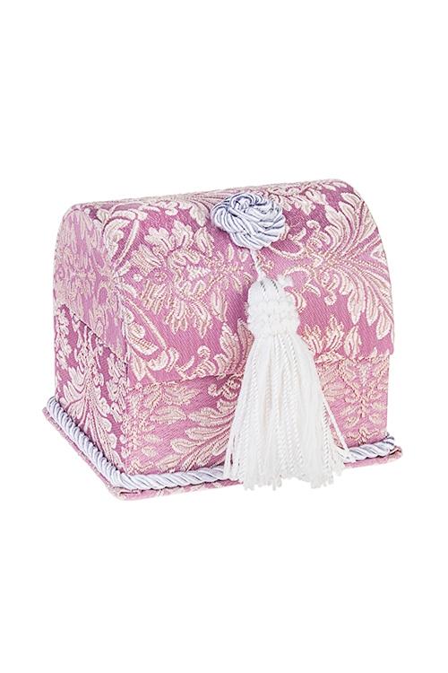 Шкатулка Дворцовый шикШкатулки для украшений<br>12.5*11*11см, текстиль, розово-золот.-серебр.<br>