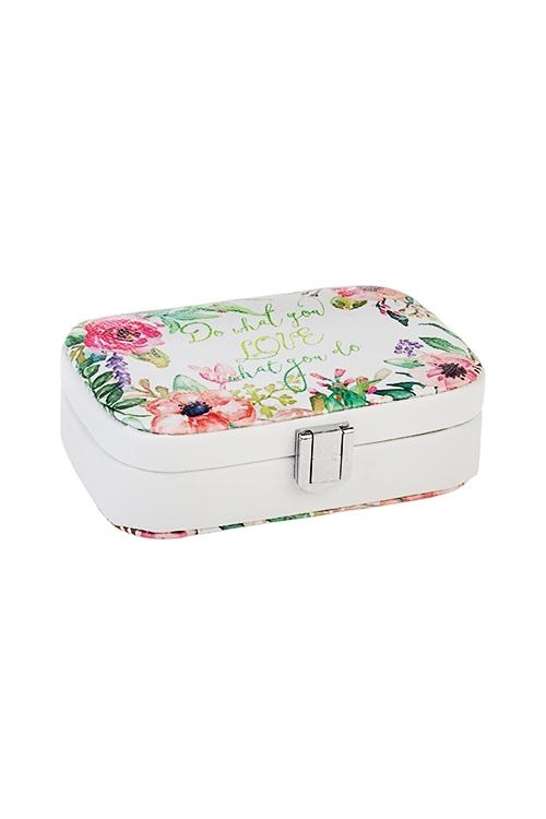 Шкатулка для ювелирных украшений Любимые моментыШкатулки для украшений<br>14.5*10.5*5см, искусств. кожа, бело-розово-зеленая<br>
