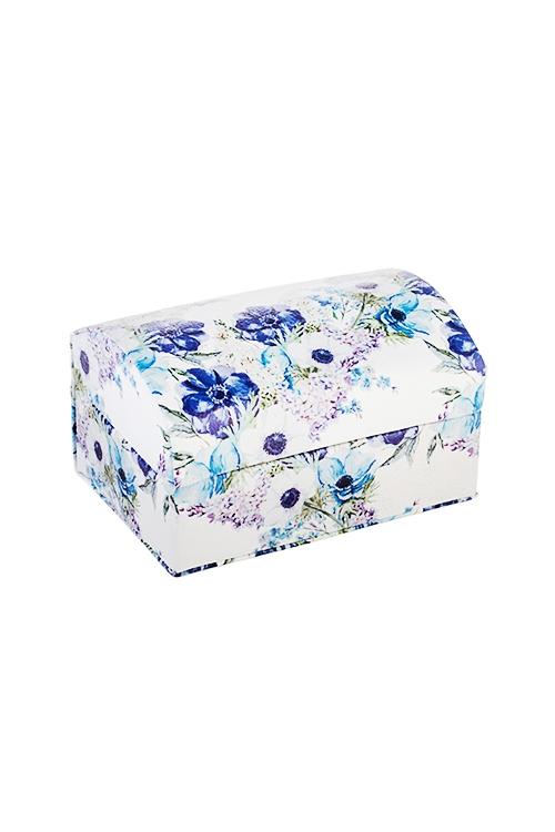 Шкатулка для ювелирных украшений Цветочная полянаШкатулки для украшений<br>12*9*8см, искусств. кожа, бело-фиолет.<br>