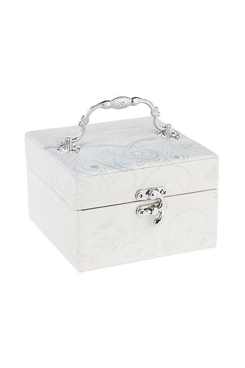 Шкатулка для ювелирных украшений ИзящностьШкатулки и наборы по уходу<br>13*13*8см, искусств. кожа, крем.-голубая<br>