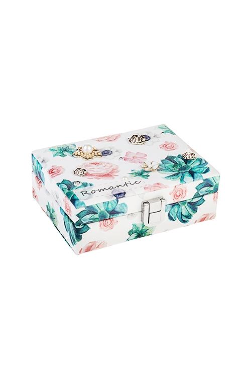 Шкатулка для ювелирных украшений РомантикаШкатулки и наборы по уходу<br>14*11*5см, искусств. кожа, бело-розово-зеленая<br>