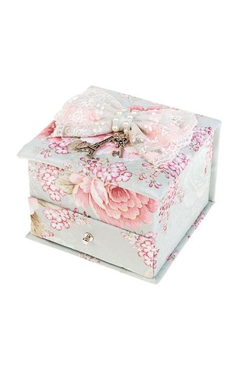 Шкатулка для ювелирных украшений ЖемчужинаШкатулки для украшений<br>12.5*12.5*10.5см, текстиль, мятно-розовая<br>