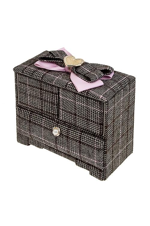 Шкатулка для ювелирных украшений ЭлегантностьШкатулки для украшений<br>18*10*15см, текстиль, коричн.-розовая<br>