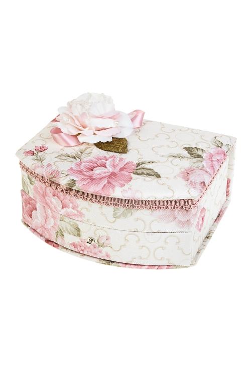 Шкатулка для ювелирных украшений Цветочная нежностьШкатулки и наборы по уходу<br>20.5*17*9см, текстиль, крем.-розовая<br>