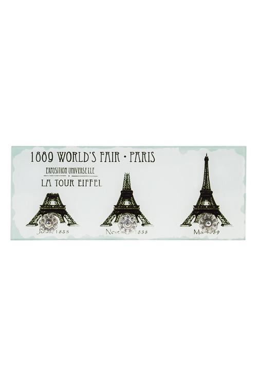 Вешалка декоративная Эйфелева башняВешалки<br>30*3*12см, стекло, с 3-мя крючками<br>
