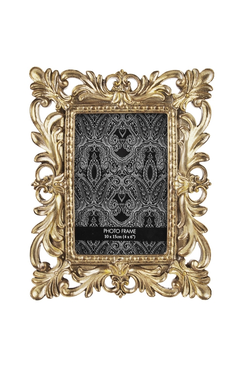 Рамка для фото Имперский шикИнтерьер<br>18*23см, фото 10*15см, полирезин, стекло, золот.<br>