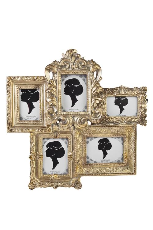 Рамка для 5-ти фото Имперский шикПодарки ко дню рождения<br>30*28см, фото 6*9см, полирезин, стекло, золот.<br>