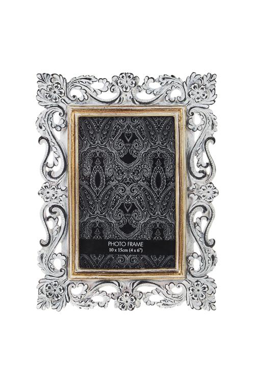 Рамка для фото Цветочный орнаментРамки для фотографий<br>17*22см, фото 10*15см, полирезин, стекло, серая<br>