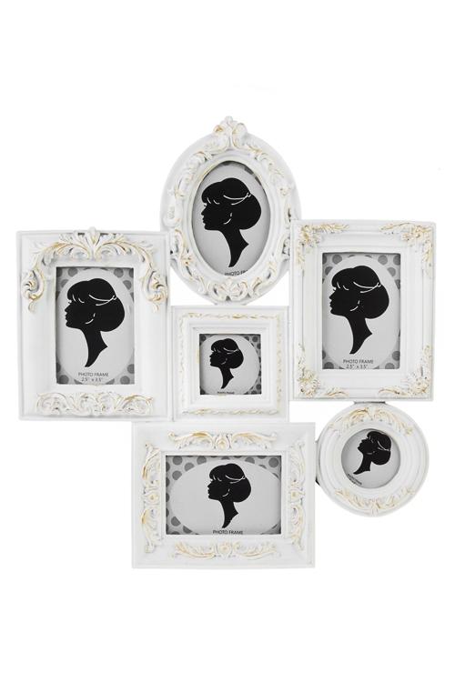 Рамка для 6-ти фото Золотой векПодарки ко дню рождения<br>28*30см, фото 6*9см, 5*5см, полирезин, стекло, бело-золот.<br>