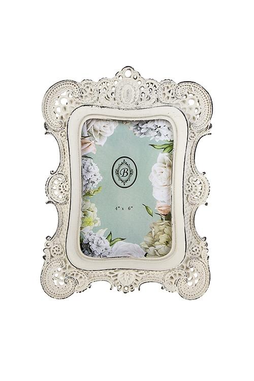Рамка для фото Королевское кружевоИнтерьер<br>17*23см, фото 10*15см, полирезин, стекло, кремовая<br>