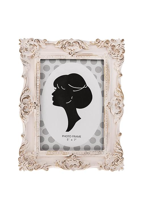 Рамка для фото ПринцессаИнтерьер<br>19*24см, фото 13*18см, полирезин, стекло, кремовая<br>