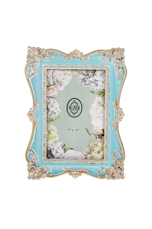 Рамка для фото РококоИнтерьер<br>16*21см, фото 10*15см, полирезин, стекло, голубо-золот.<br>