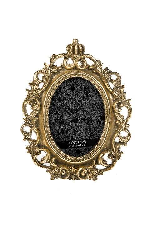 Рамка для фото КоронаИнтерьер<br>18*24см, фото 10*15см, полирезин, стекло, золот.<br>