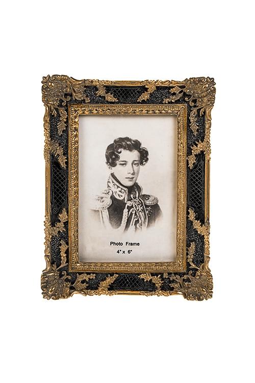 Рамка для фото АмпирИнтерьер<br>16*21см, фото 10*15см, полирезин, стекло, черно-золот.<br>