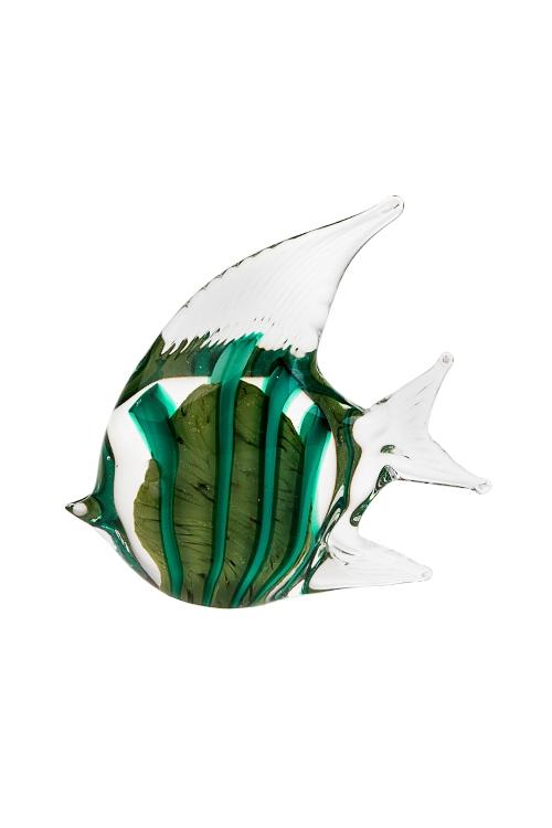 Украшение для интерьера Морская рыбкаИнтерьер<br>13*5*13см, стекло, салат.-бирюз., ручная работа<br>