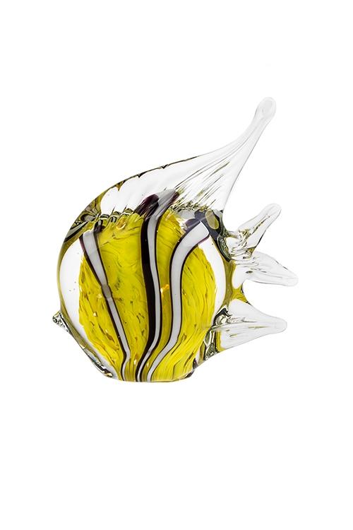Украшение для интерьера Морская рыбкаПодарки для женщин<br>15*5*12см, стекло, черно-бело-лимон., ручная работа<br>