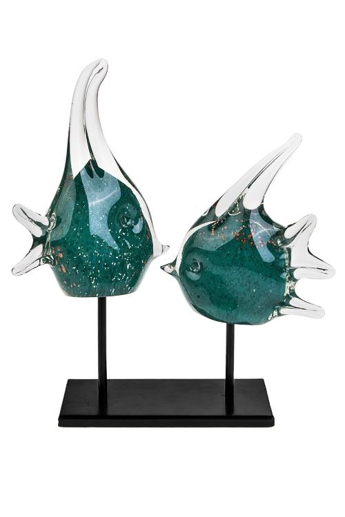 Украшение для интерьера РыбкиПодарки для женщин<br>14*8.5*24см, стекло, сине-зеленое, ручная работа<br>