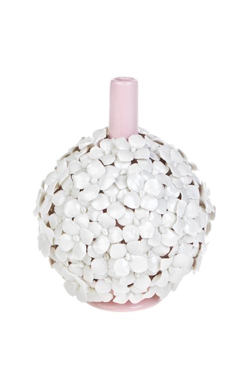 Ваза декоративная ГортензияСтеклянные вазы и кашпо<br>Выс=17.5см, фарфор, розово-белая<br>