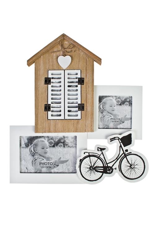 Рамка для 3-х фото Окошко со ставнямиДеревянные фоторамки<br>33.5*36см, фото 10*15см, 10*9см, дерево, стекло, беж.-бел.<br>
