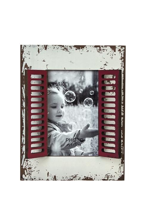 Рамка для фото ОкошкоДеревянные фоторамки<br>17*22см, фото 10*15см, дерево, стекло, серо-красная<br>