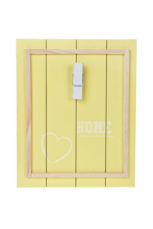 Украшение для интерьера Любимый домИнтерьер<br>С держателем для фото, 24*30см, дерево, бело-лимонное<br>