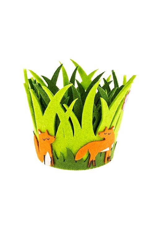Кашпо декоративное ЛисенокБлюда и подставки для яиц<br>10*12см, фетр, зеленое<br>