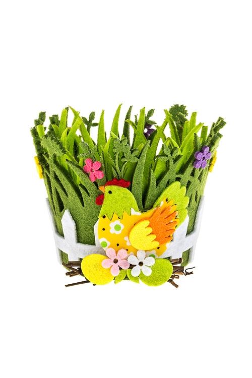 Кашпо декоративное КурочкаПодарки<br>8*10см, фетр, зеленое<br>