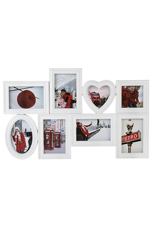 Рамка для 8-ми фото Незабываемые моментыИнтерьер<br>60*38см, фото 10*15см, 10*10см, пластм., белая<br>