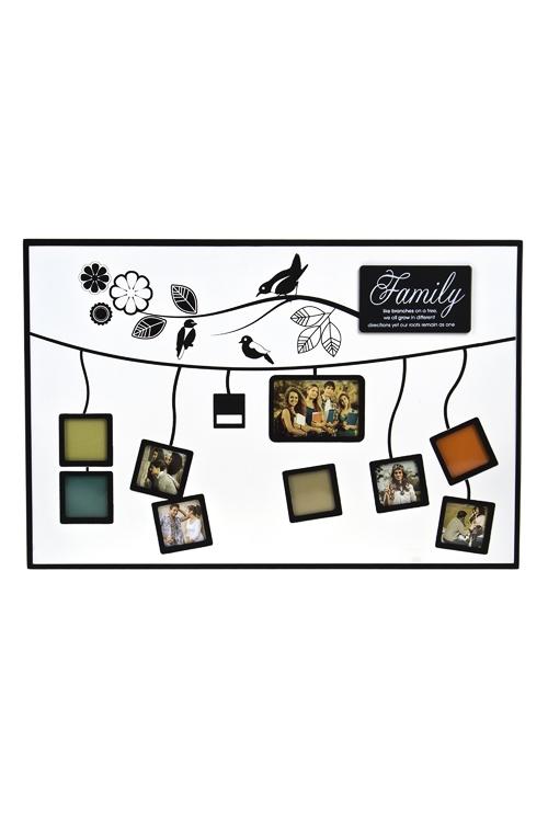 Рамка для 10-ти фото Семейное деревоДеревянные фоторамки<br>30*45см, фото 4*4, 5*8см, МДФ, черно-белая<br>